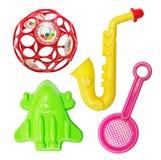 套塑料明亮的玩具 免版税库存照片