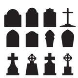 套墓石和墓碑剪影 库存照片