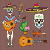 套墨西哥文化的图象与头骨Calavera的 免版税库存图片