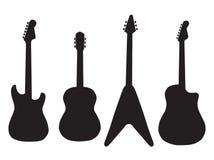 套声学吉他和电吉他 免版税库存图片