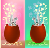 套复活节兔子的设计在鸡蛋 免版税库存照片