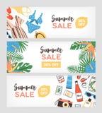套夏天用异乎寻常的棕榈叶或广告的水平的横幅模板装饰的销售电视节目预告,热带 库存例证