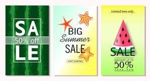 套夏天销售横幅模板 导航网站的和流动网站横幅、海报、电子邮件和时事通讯de例证 库存图片