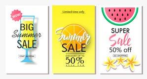 套夏天销售横幅模板 导航网站的和流动网站横幅、海报、电子邮件和时事通讯de例证 免版税库存图片