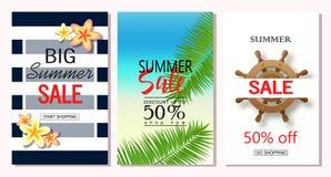 套夏天销售横幅模板 导航网站的和流动网站横幅、海报、电子邮件和时事通讯de例证 免版税图库摄影