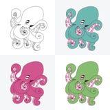 套多彩多姿的章鱼 免版税库存图片
