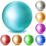套多彩多姿的表面无光泽的球形 免版税库存图片