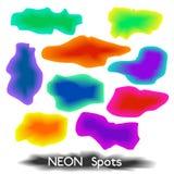 套多彩多姿的霓虹斑点、污点或者飞溅纹理bac的 库存照片