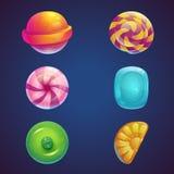 套多色的果冻甜点 图库摄影