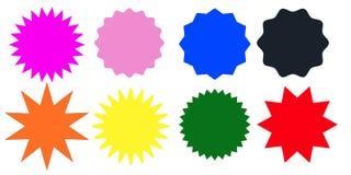 套多色starburst在白色背景盖印 也corel凹道例证向量 库存例证
