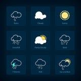 套天气符号,传染媒介例证 库存图片