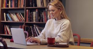 套头衫的可爱的妇女使用膝上型计算机 股票录像