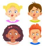 套女孩和男孩字符 免版税库存图片