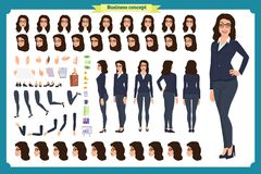 套女实业家字符设计 前面,边,后面看法给字符赋予生命 企业女孩 动画片,平的传染媒介被隔绝 向量例证