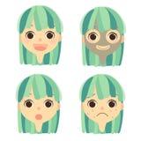 套女性的面孔以面具丘疹加点和健康皮肤 向量例证