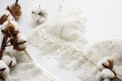 套女用贴身内衣裤,米黄与黑白色丝带 在用棉花装饰的白色背景的白色背景开花 库存照片