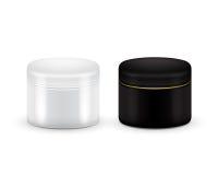 套奶油、粉末或者胶凝体的传染媒介空白化妆容器 黑白颜色 查出的容器装饰性的泡沫刮白色 嘲笑 免版税库存图片