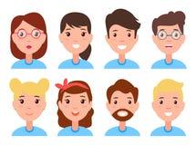 套妇女和人面孔,字符建设者 库存例证
