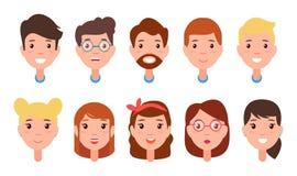 套妇女和人面孔,字符建设者 皇族释放例证
