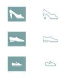 套妇女的、人的和儿童的鞋子象  传染媒介illu 库存照片