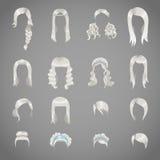 套妇女的不同的灰色发型 免版税库存照片