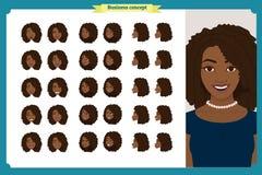 套妇女` s情感设计 表情 前面,边,外形视图给字符赋予生命 向量 企业女孩字符 向量例证