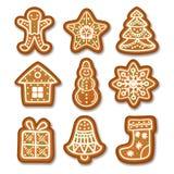 套姜饼圣诞节曲奇饼装饰了结冰 向量例证