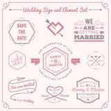 套婚礼庆祝徽章和标志装饰元素设计 皇族释放例证