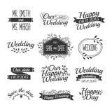 套婚礼葡萄酒减速火箭的商标,标志,标签 向量例证