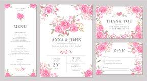 套婚礼邀请与水彩玫瑰色花的卡片模板 向量例证