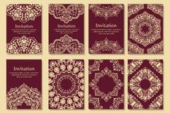 套婚礼邀请和公告卡片与装饰品在阿拉伯样式 蔓藤花纹样式 向量例证
