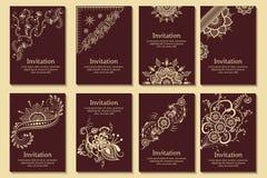 套婚礼邀请和公告卡片与装饰品在阿拉伯样式 蔓藤花纹样式 库存例证