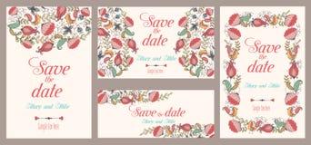 套婚礼邀请 葡萄酒卡片,花卉和古色古香的装饰元素 免版税库存照片