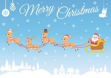 套字符动画片逗人喜爱的圣诞老人和驯鹿 库存照片