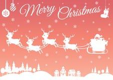 套字符动画片逗人喜爱的圣诞老人和驯鹿 免版税图库摄影