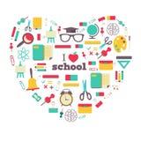 套学校元素和主题在心脏 我 向量例证
