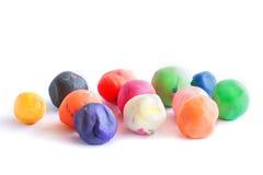 套孩子的五颜六色的彩色塑泥 免版税库存照片
