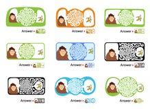 套孩子的迷宫难题与猴子和香蕉 迷宫例证,包括的解答 免版税库存图片