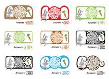 套孩子的迷宫难题用兔子和红萝卜 迷宫例证,包括的解答 皇族释放例证