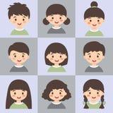 套孩子面孔具体化灰色绿色传染媒介 库存例证