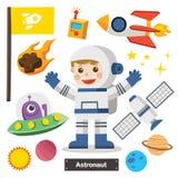 套宇航员字符有航天器的 向量例证