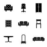 套家具在黑色的象剪影 免版税库存图片