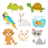 套家庭动物宠物 向量例证