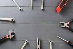 套家庭工具 复制空间 免版税库存照片
