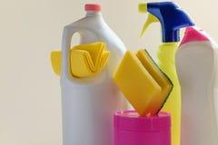 套家庭清洁产品 大扫除概念 库存图片