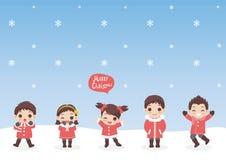 套寒假和圣诞节的字符动画片逗人喜爱的儿童属性,用不同的服装,传染媒介例证 免版税图库摄影