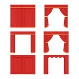 套对剧院、戏院或者加工厂的红色帷幕 传染媒介,在白色背景EPS10的例证 库存图片