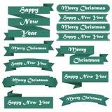 套对圣诞快乐和新年快乐的绿色丝带 皇族释放例证