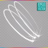 套对透明背景的不可思议的发光的火花漩涡足迹作用 Bokeh闪烁与飞行的波浪线 向量例证