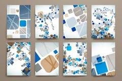 套小册子,海报在抽象背景样式的设计模板 免版税库存图片